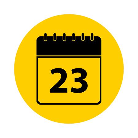 23 Calendar Yellow Vector Icon - Calendar design template - Business vector illustration.
