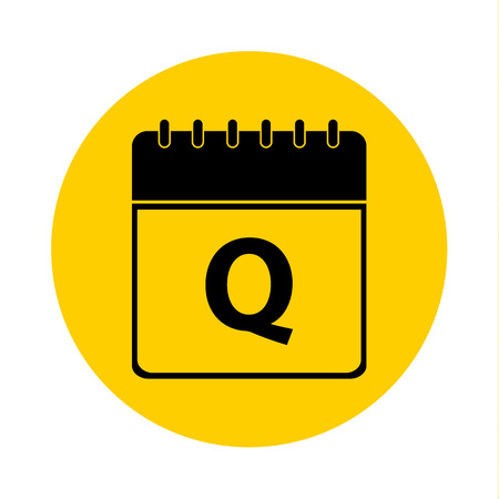 Letter Q Day Calendar Yellow Vector Icon - Calendar design template - Business vector illustration.