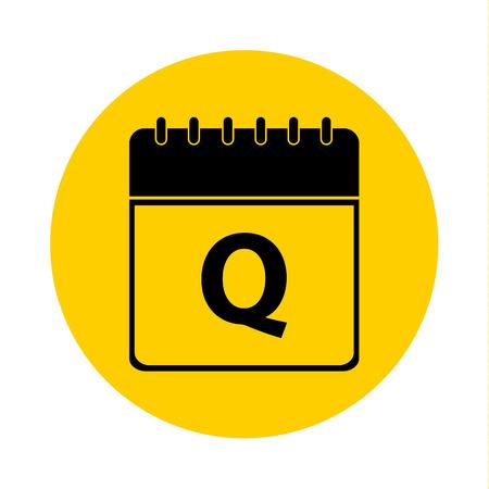 Letter Q Day Calendar Yellow Vector Icon - Calendar design template - Business vector illustration.