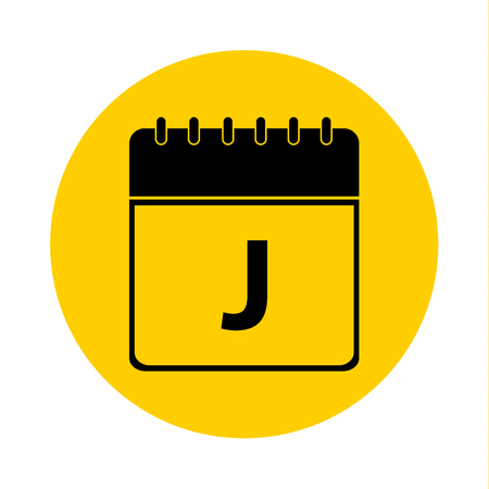 Letter J Day Calendar Yellow Vector Icon - Calendar design template - Business vector illustration. Illustration