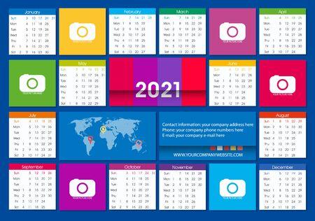 2021 Poster Calendar Vector Template. Flat Design. Full color. Week Starts Sunday. Vetores