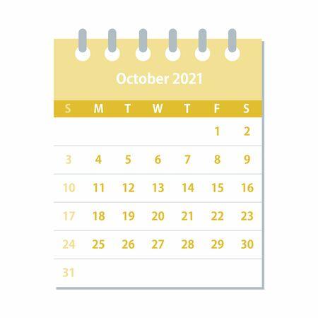 October 2021 Calendar Leaf. Monthly calendar design template. Week starts on Sunday. Business vector illustration.