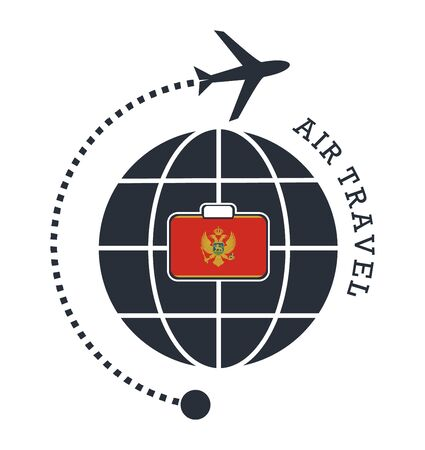 Montenegro air travel. Vector illustration.  イラスト・ベクター素材