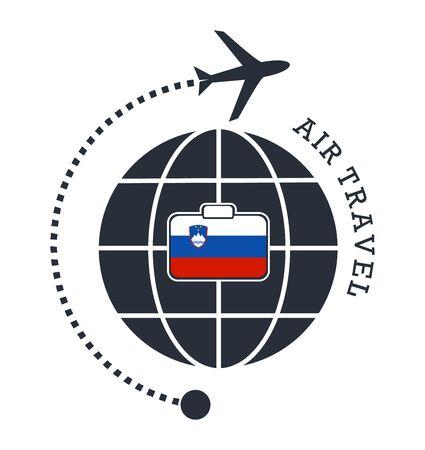 Slovenia air travel. Vector illustration.