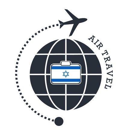 Israel air travel. Vector illustration.