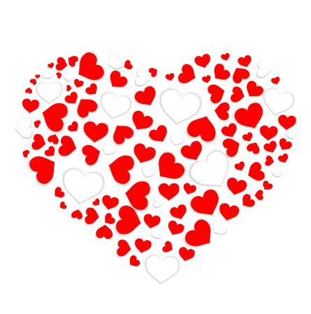 Heart shape with red and white hearts. Vector illustration. Vektorové ilustrace