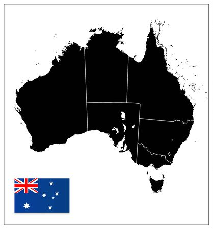 Australia black color blank map isolated on white. All elements are separated in editable layers clearly labeled.