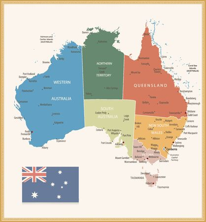 Vintage Color Political map of Australia. All elements are separated in editable layers clearly labeled.