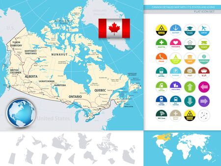 Canada Detailed Map With It's States And Flat Icons. D.I.Y.infographic set.All elements are separated in editable layers clearly labeled.