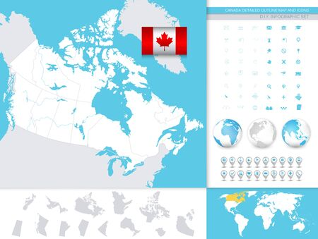 Canada detailed outline map and icons. D.I.Y.infographic set. All elements are separated in editable layers clearly labeled.