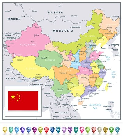 China detailed political map and map pointers. All elements are separated in editable layers clearly labeled.