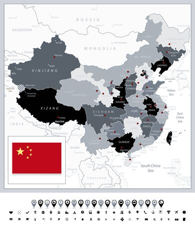 Grayscale map of China and navigation icons. All elements are separated in editable layers clearly labeled.