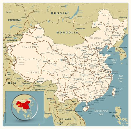 Highly detailed road map of China with roads, railroads and water objects. All elements are separated in editable layers clearly labeled.