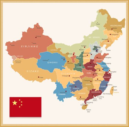 Vintage color map of China. All elements are separated in editable layers clearly labeled.
