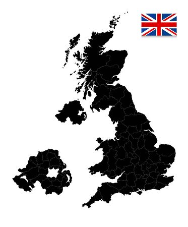 Great Britain Black map isolated on white. All elements are separated in editable layers clearly labeled. Ilustrace