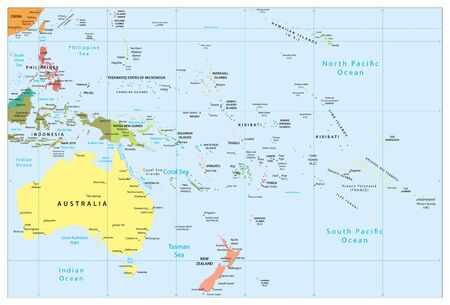 Australia and Oceania detailed political map. All elements are separated in editable layers clearly labeled.