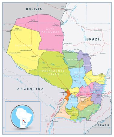 Detailed political and road map of Paraguay with capital Asuncion, national borders, most important cities, rivers and lakes.