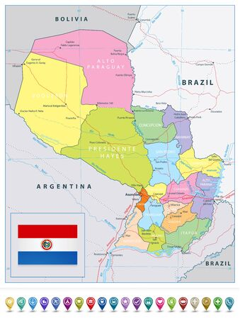 Paraguay detailed political road map and map pointers. All elements are separated in editable layers clearly labeled. 矢量图像