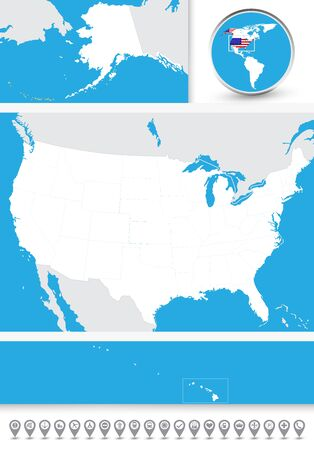 Blind map of the USA with navigational bubble icon set.