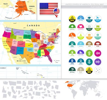 Political map of the USA with it's states and Flat Icon Set. Large Vector Image Set.