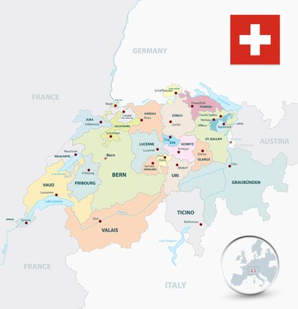 Switzerland administrative divisions map. All elements are separated in editable layers clearly labeled.