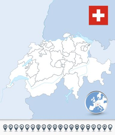 Switzerland outline map with map markers. All elements are separated in editable layers clearly labeled. Illustration