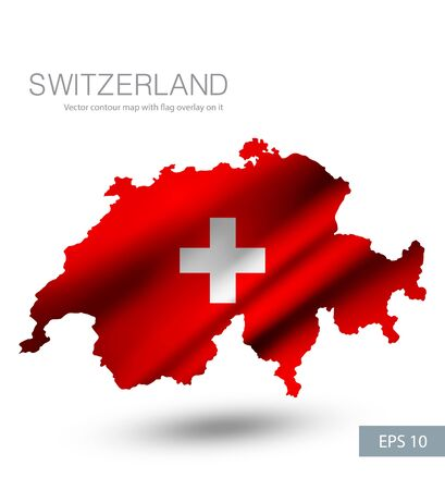 Switzerland vector contour map with country flag
