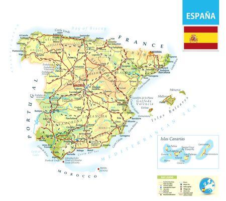 Carte physique détaillée de l'Espagne avec les routes, les chemins de fer et les villes. Vecteurs