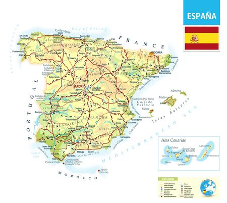 Detailed physical map of Spain with roads,railroads and cities. Vektorové ilustrace