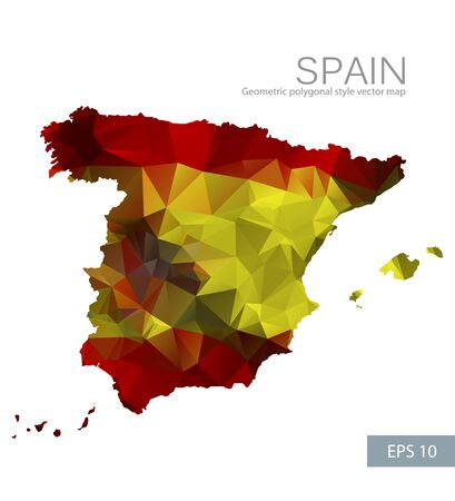 Geometric polygonal design vector map of Spain