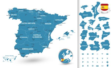 Highly detailed map of Spain with administrative divisions( regions), cities and pictogram navigation icons.
