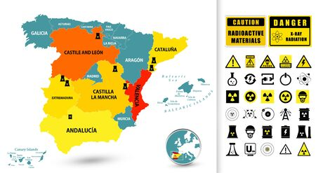 Map of Spain with Nuclear Power Plants and Nuclear Power technology icons with contamination signs.