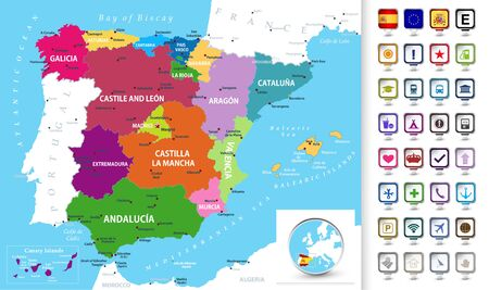 Political map of Spain with administrative divisions (regions), cities and cities and 3D pin pointers collection.