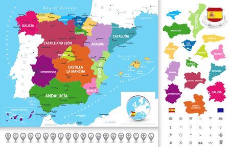 Political map of Spain with administrative divisions (regions), cities, separated lands outline and navigation icons collection. Иллюстрация
