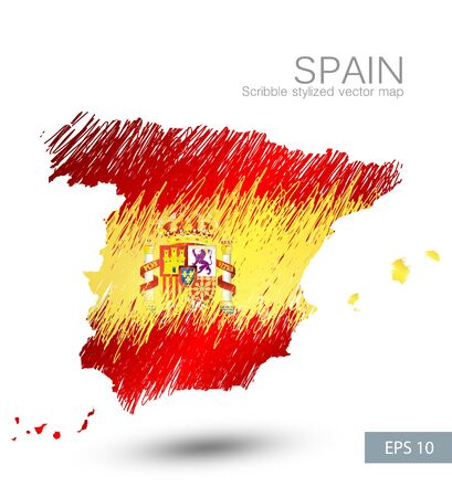 Scribble stylized map of Spain with well detailed Spain emblem(coat of arms)