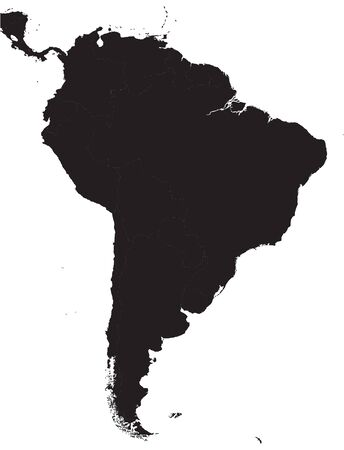Black South America Detailed Map.Vector illustration.