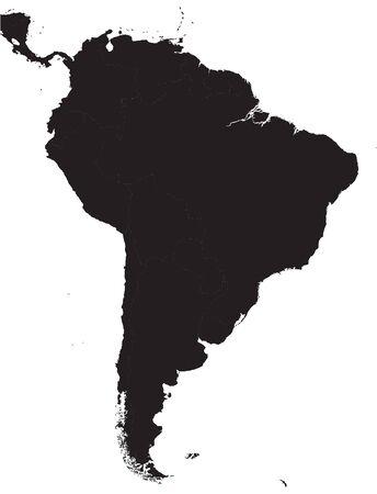 Black South America Detailed Map.Vector illustration.