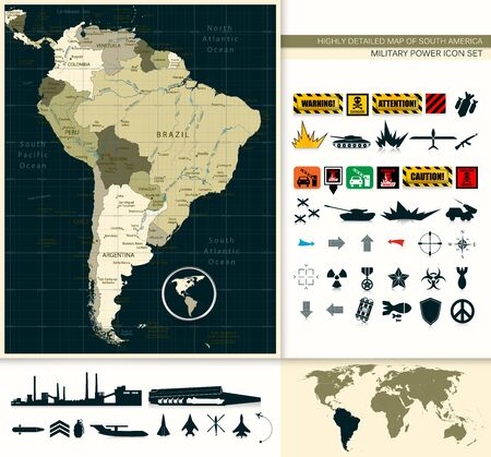 Highly Detailed Map of South America and Military Power Icon Set.