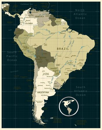 Highly Detailed Military Map of South America. Иллюстрация