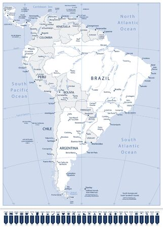 South America Highly Detailed Vector Map And Pointers.All elements are separated in editable layers clearly labeled. Ilustrace