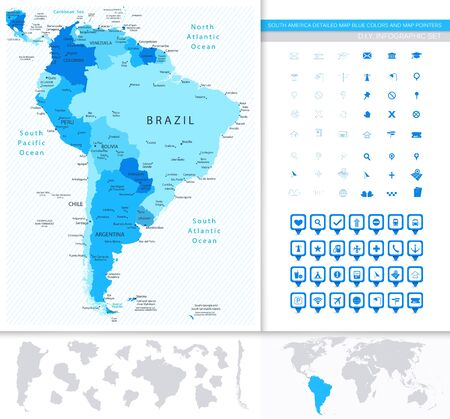 South America Detailed Map Blue Colors And Map Pointers Collection. All elements are separated in editable layers clearly labeled.