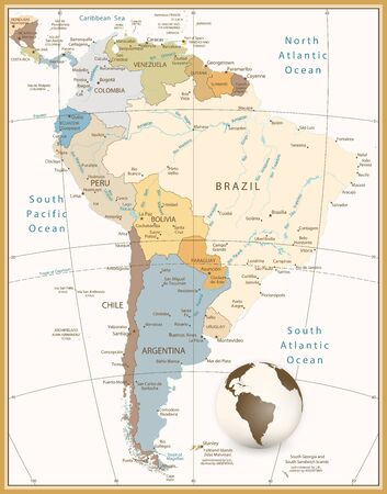 South America Detailed Map Retro Style.All elements are separated in editable layers clearly labeled. Vector Illustratie