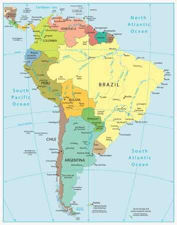 South America Highly Detailed Vector Map.All elements are separated in editable layers clearly labeled. Vector Illustratie