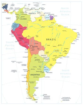 South America Detailed Political Map Isolated On White.All elements are separated in editable layers clearly labeled.