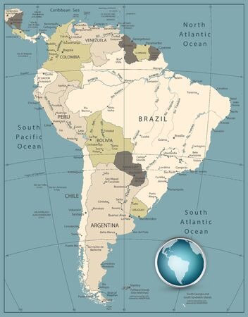 South America Highly Detailed Map. Retro Colors. Vetores