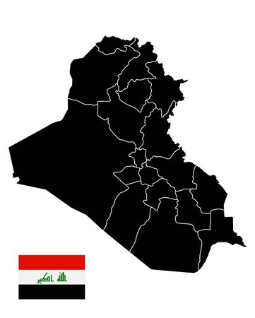Iraq Black Map isolated on white. Blank Map of Iraq isolated on white. Иллюстрация