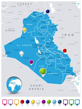Iraq Map and map icons. Detailed vector illustration of map. Map of Iraq with the capital Baghdad, national borders, most important cities and icons. Illustration