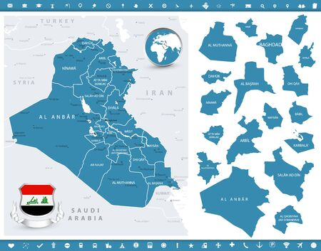 Iraq Map and regions. Detailed map of Map and regions. Vector illustration.