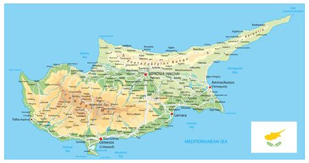 Cyprus Physical Map. Detail relief vector map of Cyprus. 矢量图像