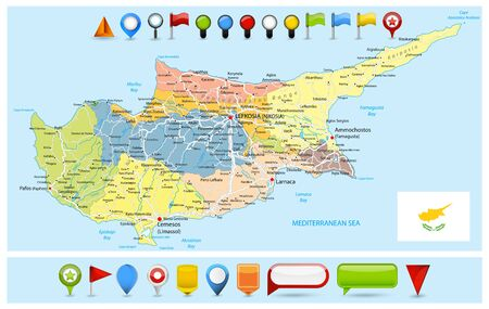 Cyprus Political Map with roads and Glossy Map Icons. Detail administrative vector map of Cyprus with roads and icons. 矢量图像